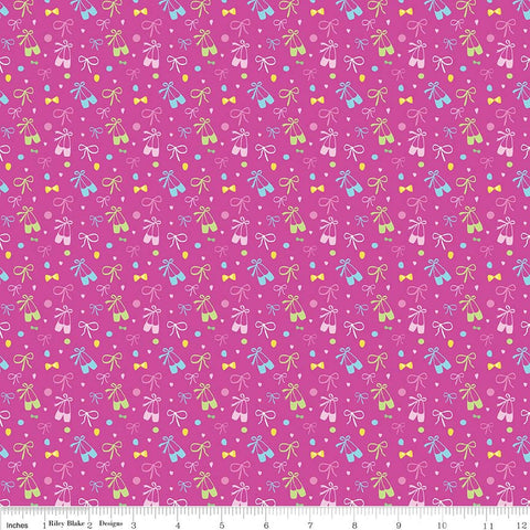 Ballerina Bows Slippers Pink - Riley Blake Designs - Ballerina Ballet Dancing - Quilting Cotton Fabric - end of bolt pieces