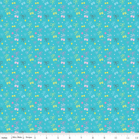 "Ballerina Bows Slippers Aqua - Riley Blake Designs - Blue Ballerina Ballet Dancing - Quilting Cotton Fabric - 1 yard 26"" end of bolt piece"