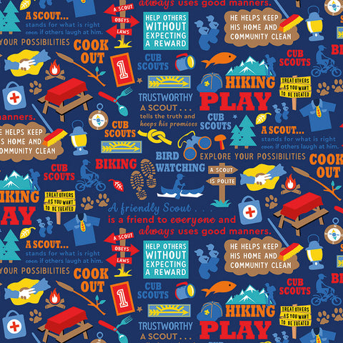 Cub Scouts Main Navy Blue - Riley Blake Designs - Boy Scouts Hiking - Quilting Cotton Fabric