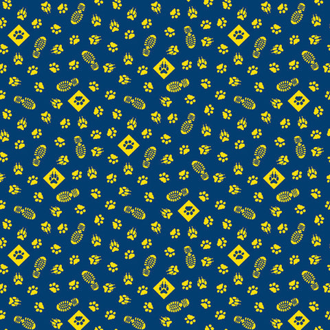 SALE Cub Scouts Paws Navy Blue - Riley Blake Designs - Boy Scouts Paw Prints Footprints Yellow - Quilting Cotton Fabric