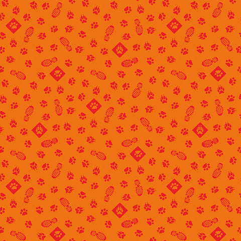 SALE Cub Scouts Paws Orange - Riley Blake Designs - Boy Scouts Paw Prints Footprints Red - Quilting Cotton Fabric