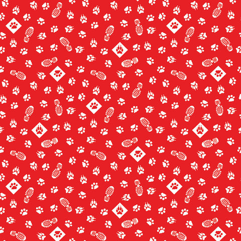 SALE Cub Scouts Paws Red - Riley Blake Designs - Boy Scouts Paw Prints Footprints White - Quilting Cotton Fabric - choose your cut