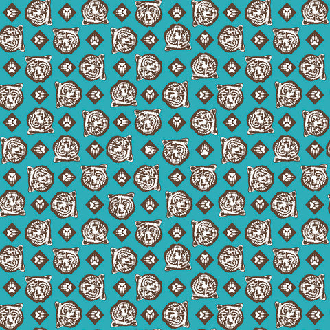 SALE Cub Scouts Bear Teal - Riley Blake Designs - Boy Scouts Paws Blue Green - Quilting Cotton Fabric - choose your cut