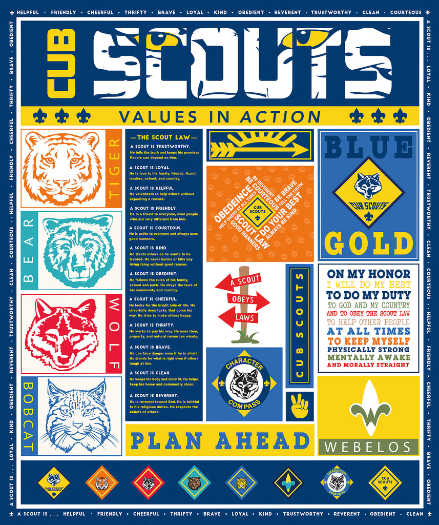 SALE Cub Scouts Panel - Riley Blake Designs - Boy Scouts - Quilting Cotton Fabric