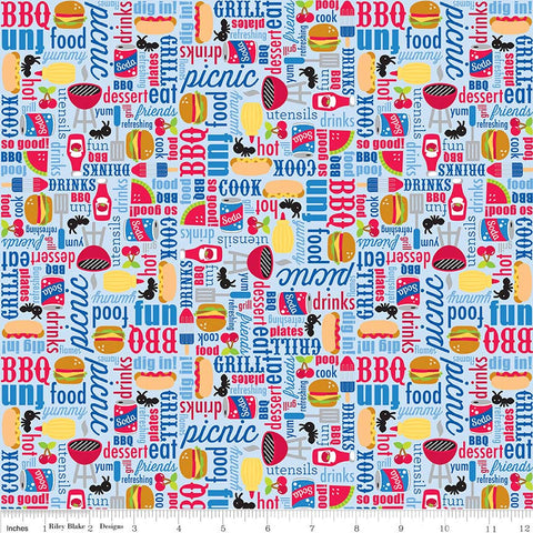 SALE Patriotic Picnic Main Light Blue - Riley Blake Designs - Independence Day USA Food - Quilting Cotton Fabric