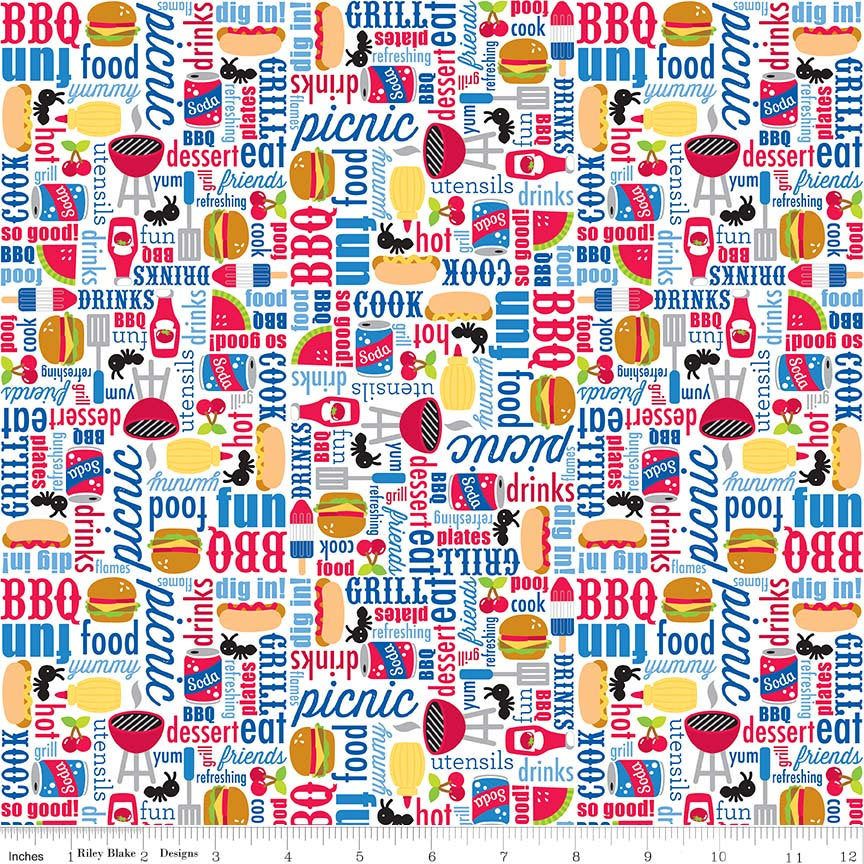 SALE Patriotic Picnic Main White - Riley Blake Designs - Independence Day USA Food - Quilting Cotton Fabric - end of bolt pieces