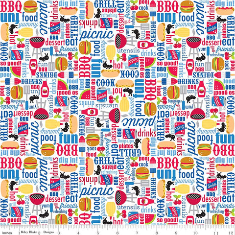 Patriotic Picnic Main White - Riley Blake Designs - Independence Day USA Food - Quilting Cotton Fabric - choose your cut