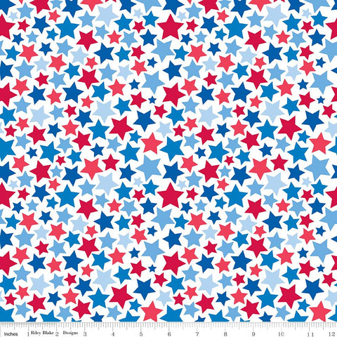 SALE Patriotic Picnic Stars White - Riley Blake Designs - Independence Day USA Red White Blue - Quilting Cotton Fabric