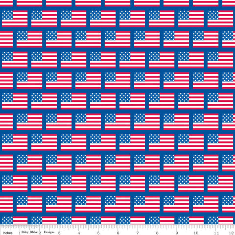 Patriotic Picnic Flags Blue - Riley Blake Designs - American Independence Day USA Red White - Quilting Cotton Fabric - choose your cut