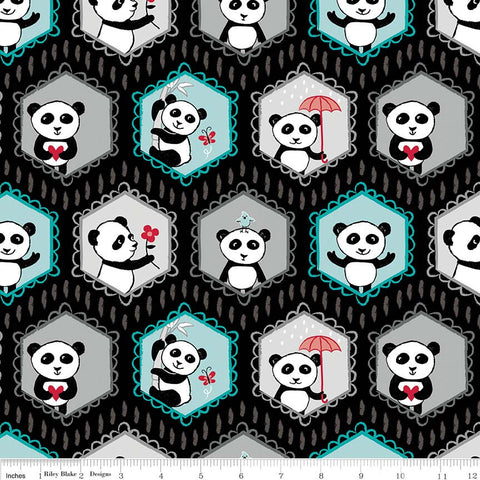 Panda Love Main Black - Riley Blake Designs - Pandas - Quilting Cotton Fabric - choose your cut