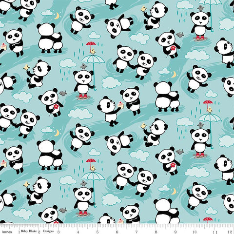 Panda Love Toss Aqua - Riley Blake Designs - Blue Pandas - Quilting Cotton Fabric - choose your cut