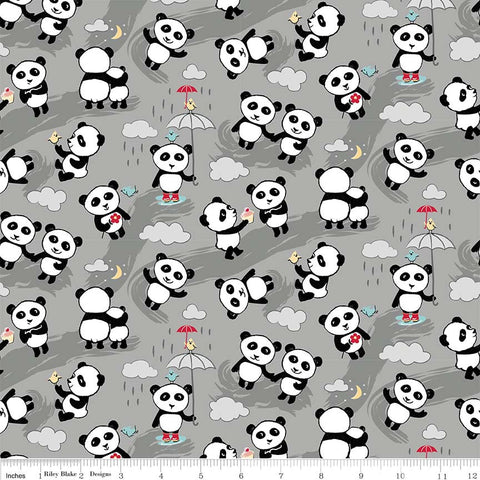 Panda Love Toss Gray - Riley Blake Designs - Pandas - Quilting Cotton Fabric - end of bolt pieces