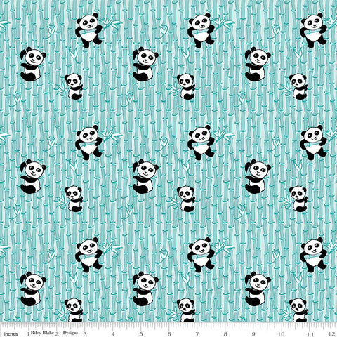 Panda Love Bamboo Aqua - Riley Blake Designs - Blue Pandas - Quilting Cotton Fabric - choose your cut