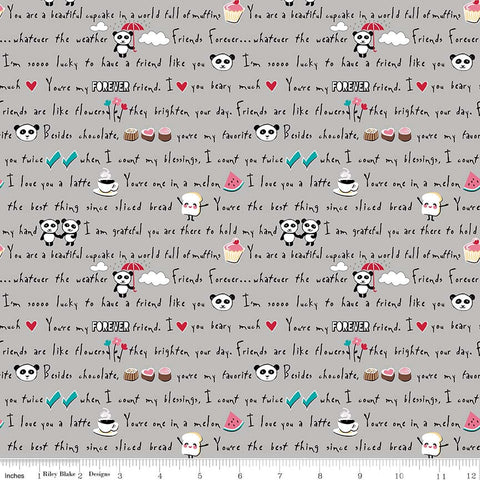 Panda Love Words Gray - Riley Blake Designs - Grey Pandas Text - Quilting Cotton Fabric - choose your cut