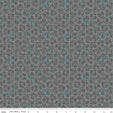Panda Love Hexies Gray - Riley Blake Designs - Grey Geometric - Quilting Cotton Fabric - choose your cut
