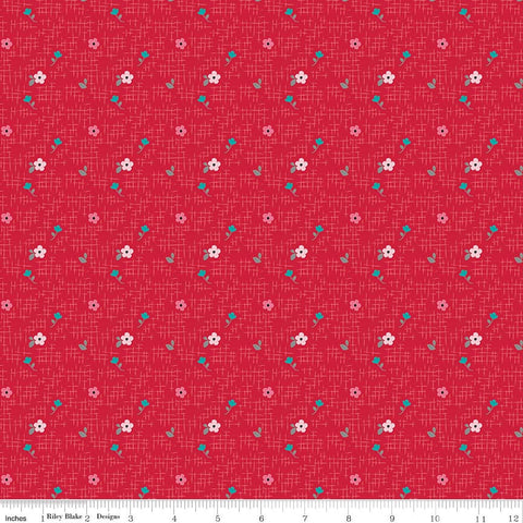 Panda Love Floral Red - Riley Blake Designs - Flowers - Quilting Cotton Fabric - choose your cut