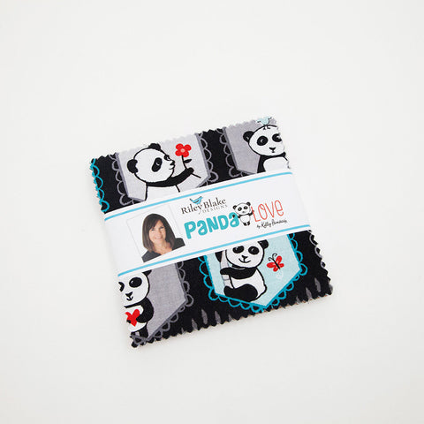 "Panda Love Charm Pack 5"" Stacker Bundle - Riley Blake Designs - 42 piece Precut Pre cut - Pandas Kelly Panacci - Quilting Cotton Fabric"