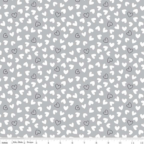 Delilah Hearts Gray - Riley Blake Designs - Black and White - Quilting Cotton Fabric