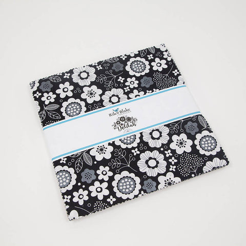"Delilah Layer Cake 10"" Stacker Bundle - Riley Blake Designs - 42 piece Precut Pre cut - Black and White Sparkle -Quilting Cotton Fabric"