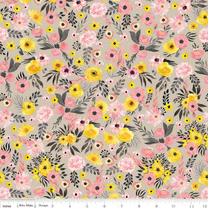 SALE Petal Lane Main Taupe - Riley Blake Designs - Brown Floral Flowers - Quilting Cotton Fabric - choose your cut