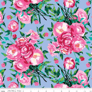 Berkshire Garden Main Periwinkle - Riley Blake Designs - Lila Tueller - Purple Blue Flowers Floral- Quilting Cotton Fabric - choose your cut