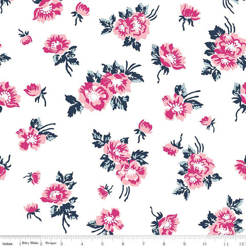 Derby Day Main White - Riley Blake Designs - Pink Floral Flowers - Quilting Cotton Fabric - choose your cut