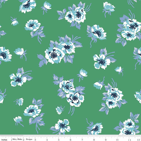 Derby Day Main Green - Riley Blake Designs - Blue Floral Flowers - Quilting Cotton Fabric - choose your cut
