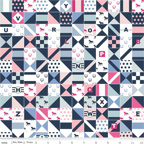 Derby Day Jockey Silks Blue - Riley Blake Designs - Navy Pink Patchwork Squares - Quilting Cotton Fabric - choose your cut