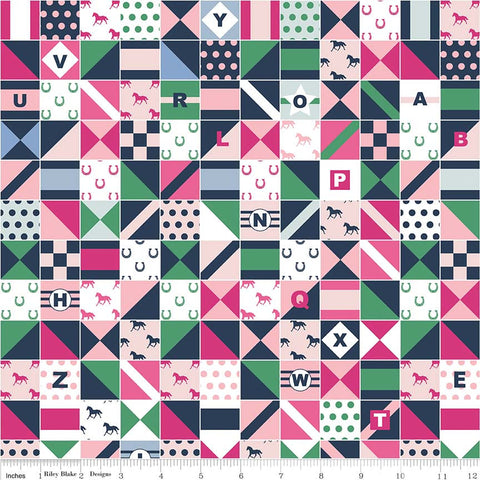 Derby Day Jockey Silks Pink - Riley Blake Designs - Navy White Patchwork Squares - Quilting Cotton Fabric - choose your cut