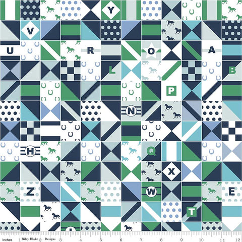 SALE Derby Day Jockey Silks Green - Riley Blake Designs - Navy White Patchwork Squares - Quilting Cotton Fabric - choose your cut