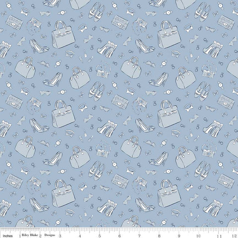 CLEARANCE Derby Day Accessories Blue - Riley Blake Designs - Shoes Bags Tone on Tone - Quilting Cotton Fabric - by the yard