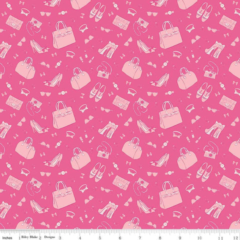 CLEARANCE Derby Day Accessories Pink - Riley Blake Designs - Shoes Bags Tone on Tone - Quilting Cotton Fabric - by the yard