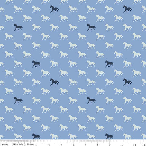 Derby Day Horses Navy on Blue - Riley Blake Designs - Quilting Cotton Fabric - choose your cut
