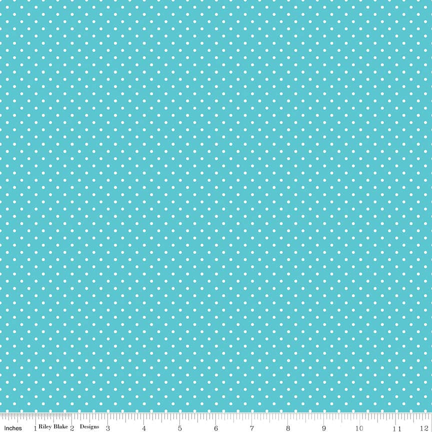 SALE White on Peacock Blue Swiss Dots - Riley Blake Designs - Polka Dot - Quilting Cotton Fabric