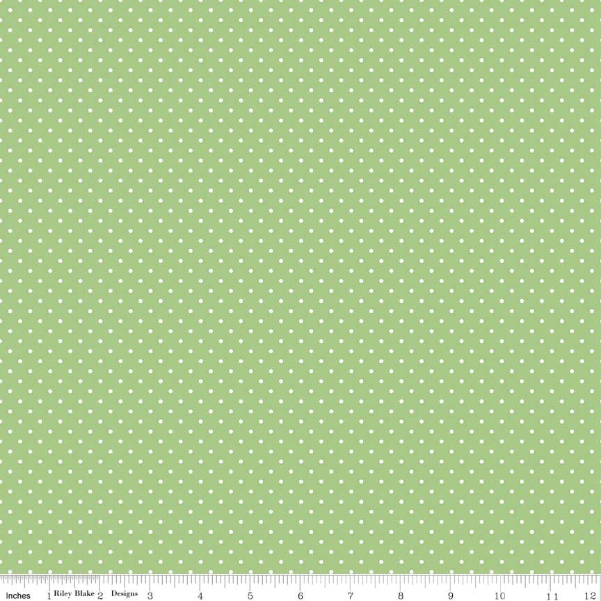SALE White on Green Swiss Dots - Riley Blake Designs - Polka Dot - Quilting Cotton Fabric