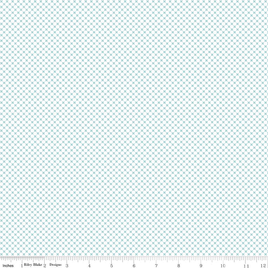 SALE Aqua Blue Kisses on White - Riley Blake Designs - Crosses - Quilting Cotton Fabric - choose your cut