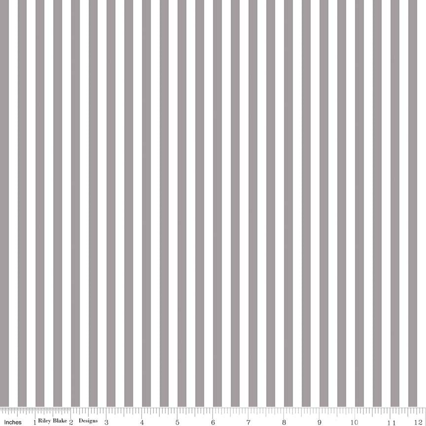 SALE Gray and White 1/4 Quarter Inch Stripe - Riley Blake Designs - Quilting Cotton Fabric