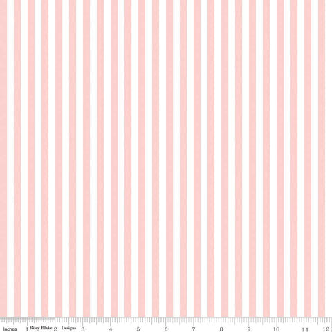 Baby Pink and White 1/4 Quarter Inch Stripe - Riley Blake Designs - Quilting Cotton Fabric