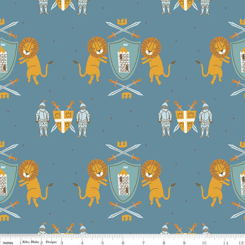 Lancelot Main Dark Blue - Riley Blake Designs - Lions Knights - Quilting Cotton Fabric - choose your cut