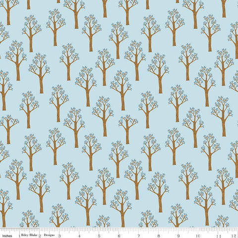Lancelot Trees Blue - Riley Blake Designs - Citrus and Mint - Quilting Cotton Fabric - end of bolt pieces