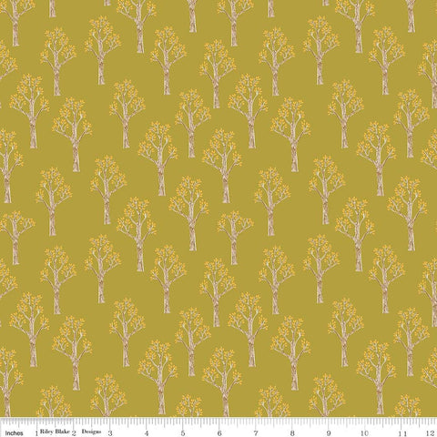 "Lancelot Trees Green - Riley Blake Designs - Quilting Cotton Fabric - 1 yard 30"" end of bolt"