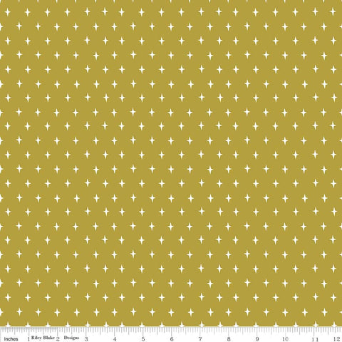 Lancelot Stars Green - Riley Blake Designs - Quilting Cotton Fabric - choose your cut