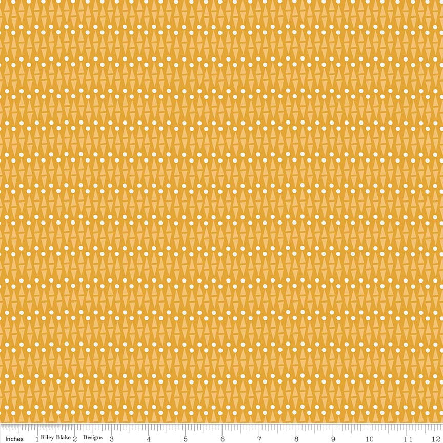 "Lancelot Geo Mustard Yellow - Riley Blake Designs - Geometric - Quilting Cotton Fabric - 1 yard 14"" end of bolt piece"
