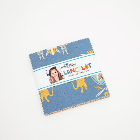 "Lancelot Charm Pack 5"" Stacker Bundle - Riley Blake Designs - 42 piece Precut Pre cut - Knights Citrus and Mint- Quilting Cotton Fabric"