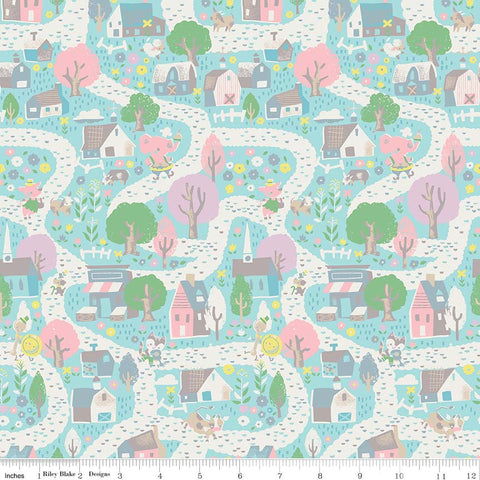 SALE Once Upon A Rhyme Village Aqua - Riley Blake Designs - Jill Howarth - Blue Nursery Rhymes - Quilting Cotton Fabric - choose your cut
