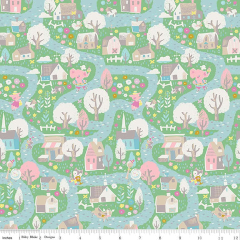 SALE Once Upon A Rhyme Village Green - Riley Blake Designs - Jill Howarth - Nursery Rhymes - Quilting Cotton Fabric - choose your cut