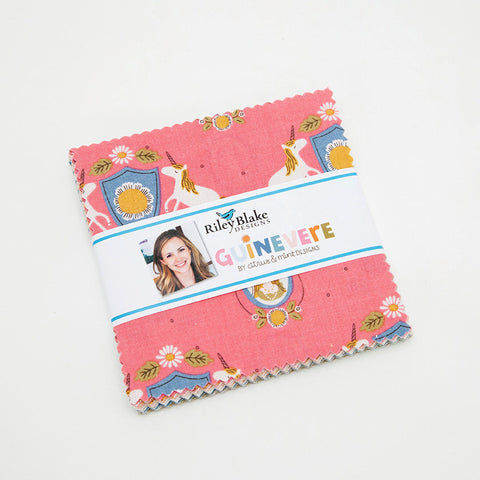 "SALE Guinevere Charm Pack 5"" Stacker Bundle - Riley Blake Designs - 42 piece Precut Pre cut - Princess Castles - Quilting Cotton Fabric"