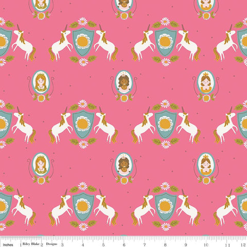 CLEARANCE Guinevere Main Hot Pink - Riley Blake Designs - Citrus and Mint - Unicorns Princess - Quilting Cotton Fabric - by the yard