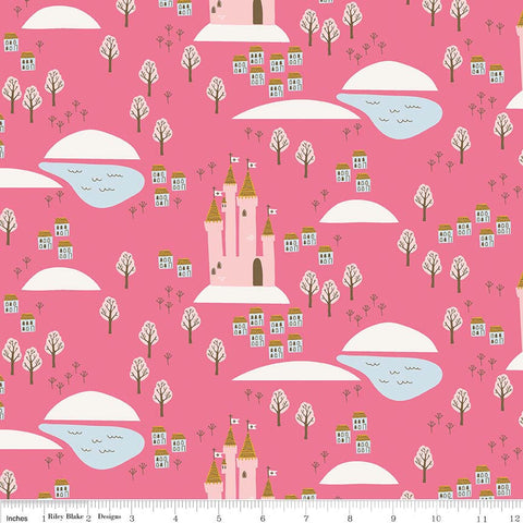 CLEARANCE Guinevere Castle Hot Pink - Riley Blake Designs - Citrus and Mint - Princess - Quilting Cotton Fabric - by the yard