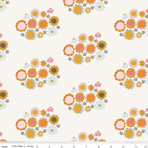 CLEARANCE Guinevere Flowers Cream - Riley Blake Designs - Citrus and Mint - Off White Floral - Quilting Cotton Fabric - by the yard